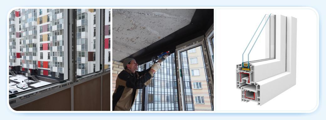 Монтаж металлопластиковых окон вместо стекол и створок
