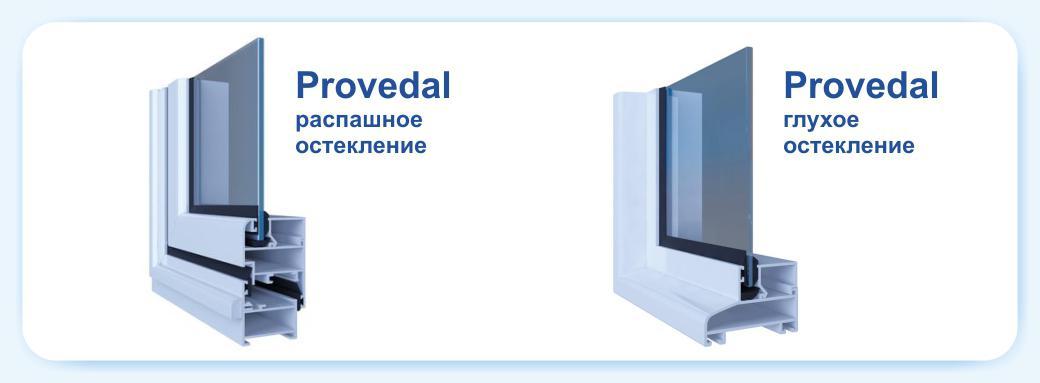 Распашная и глухая серия профиля Provedal