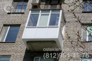 15 Остекление балкона с выносом пола недорогим профилем