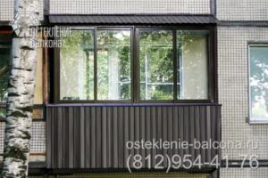 14 Остекление балкона раздвижным профилем в 606 серии