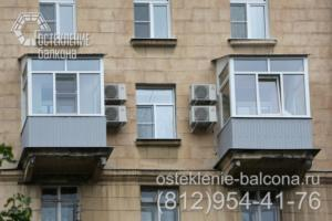 10 Остекление балконов с крышей в сталинке