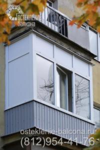 13 Остекление балкона в 405 серии с заполнением сэндвич-панелями